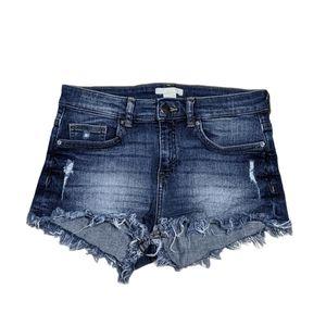 H&M Size 2 Distressed Frayed Hem Jean Shor…
